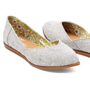 TOMS Gray Chambray Dot Jutti Ballet Flats Size 6.5